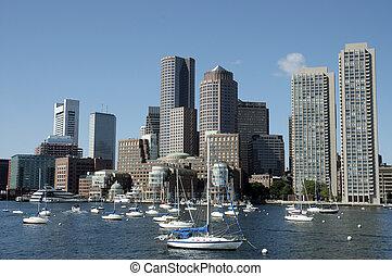 skylines, boston, charles, 1, genommen, fluß