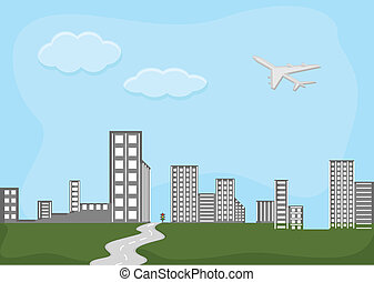 Skylines City - Cartoon Background