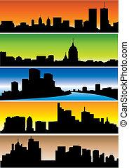 Skylines. Set. Vector illustration for you design