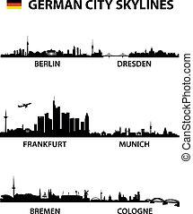 detailed vector illustration of the german cities Berlin, Bremen, Cologne, Dresden, Frankfurt am Main and Munich