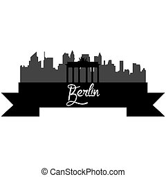Skylines - Isolated silhouette of a skyline of Berlin and...