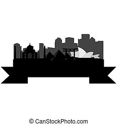 Skylines - Isolated silhouette of a skyline of cities around...