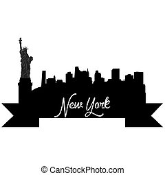 Skylines - Isolated silhouette of a skyline of New York and...