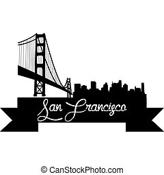 Skylines - Isolated silhouette of a skyline of San Francisco...