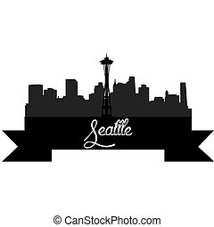 Skylines - Isolated silhouette of a skyline of Seattle and...