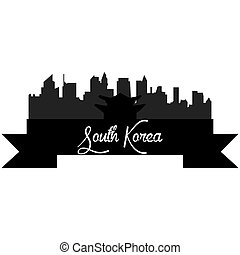 Skylines - Isolated silhouette of a skyline of seoul and its...