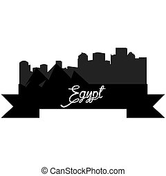 Skylines - Isolated silhouette of a skyline of some egyptian...