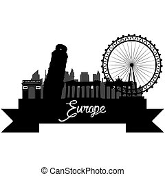 Skylines - Isolated silhouette of a skyline of some european...