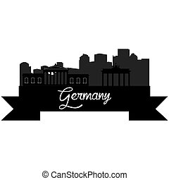 Skylines - Isolated silhouette of a skyline of some german...