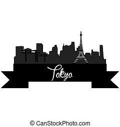 Skylines - Isolated silhouette of a skyline of Tokyo and its...