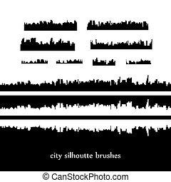 skylines., vektor, město, ilustrace