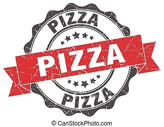 skylt., försegla, pizza, stamp.