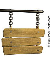 skylt, från, en, gammal, sarg, hängande, kretsloppen