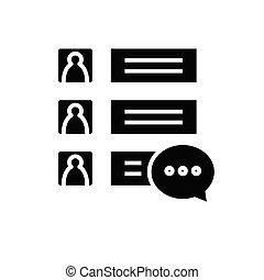 skylt., svart, pratstund, lägenhet, glyph, ikon, illustration, symbol, begrepp, vektor, inställningar