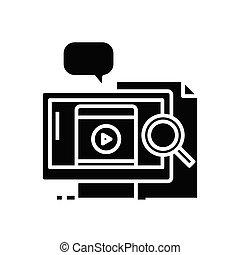 skylt., svart, pratstund, lägenhet, ikon, illustration, audio, symbol, begrepp, vektor, glyph