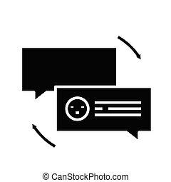 skylt., svart, pratstund, lägenhet, ikon, illustration, symbol, begrepp, vektor, glyph