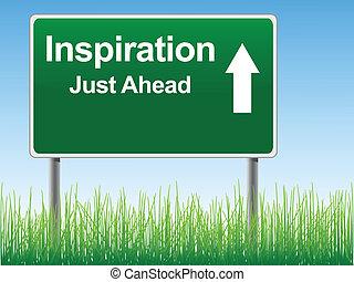 skylt., väg, inspiration