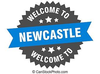 skylt., välkommen, newcastle, blå, märke