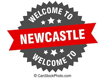 skylt., välkommen, newcastle, röd, märke