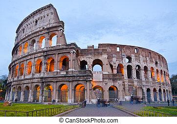 skymning, colosseum, italien, rom