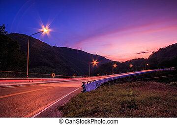 skymning, solnedgång, över, väg