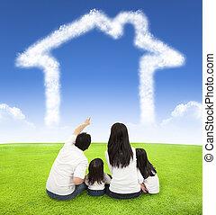 skyn, äng, familj, sittande, hus, lycklig