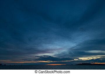 skyn, över, efter, sky, regna, mörk, solnedgång, hav