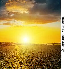skyn, asfalt,  över, gul, mörk, solnedgång, väg