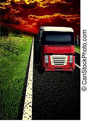 skyn, asfalt,  sky, lastbil, oväder,  under, väg