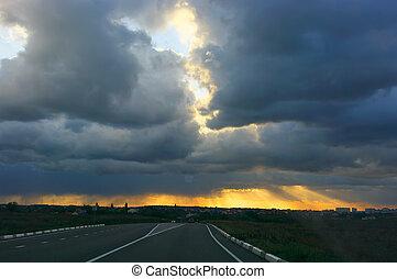 skyn, bilar, solnedgång, oväder, under, väg