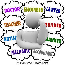 skyn, karriär, val, tanke, tänkare, undrande, ockupation