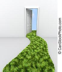 skyn, render, ledande, dörröppning, bana, gräs, 3