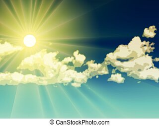 skyn, sol, över, sky, gul, effects., vektor, dager rocka