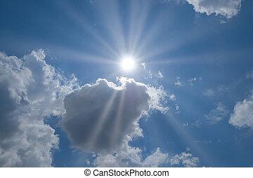skyn, sol, sky, plats, text, din
