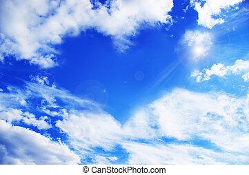 skyn, tillverkning, a, hjärta gestalta, againt, a, sky