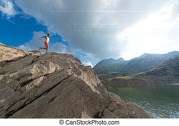 Skyrunning woman training in mountain