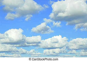 Skyscape with light fluffy clouds