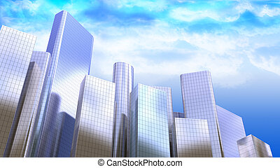 skyscapers - 3d illustration of modern city background