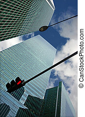 Skyscapers with Traffic Signal and Street Light