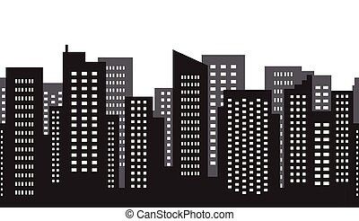 skyscraper., 都市, パターン, ベクトル, メガロポリス, シルエット, abstract., illustration., seamless