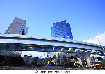Skyscraper and the Yurikamome elevated bridge