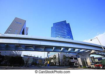 Skyscraper and the Yurikamome elevated bridge