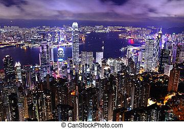 Skyscraper at night in Hong Kong