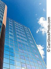 Skyscraper blue glass wall