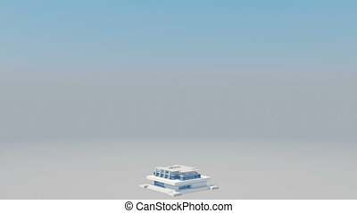 Skyscraper Building and Growing Up. 3d Animation of Building...
