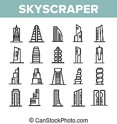 Skyscraper Building Collection Icons Set Vector