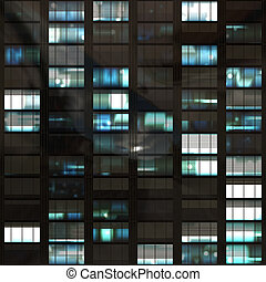 skyscraper building - computer generated lit windows in a...