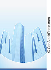 illustration of high modern building in cityscape template