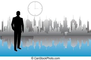 skyscraper., città, sopra, uomo affari