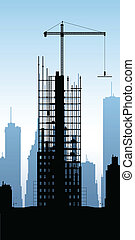 Skyscraper Construction - Cartoon silhouette of a skyscraper...